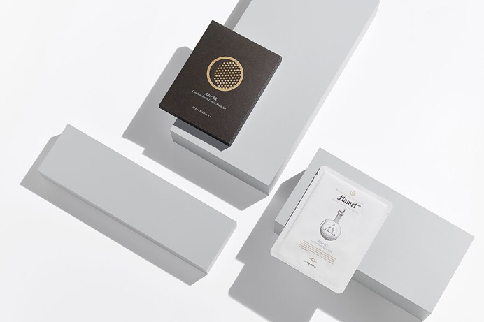 Flamel MD Identity - Mindsparkle Mag minimalist has developed a brand identity and created package designs for a newly launched cosmetic brand Flamel MD. #logo #packaging #identity #branding #design #color #photography #graphic #design #gallery #blog #project #mindsparkle #mag #beautiful #portfolio #designer