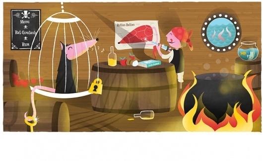 DogEatCog | My Work | Pirate's dinner #textured #retro #book #illustration #dogeatcog #childrens