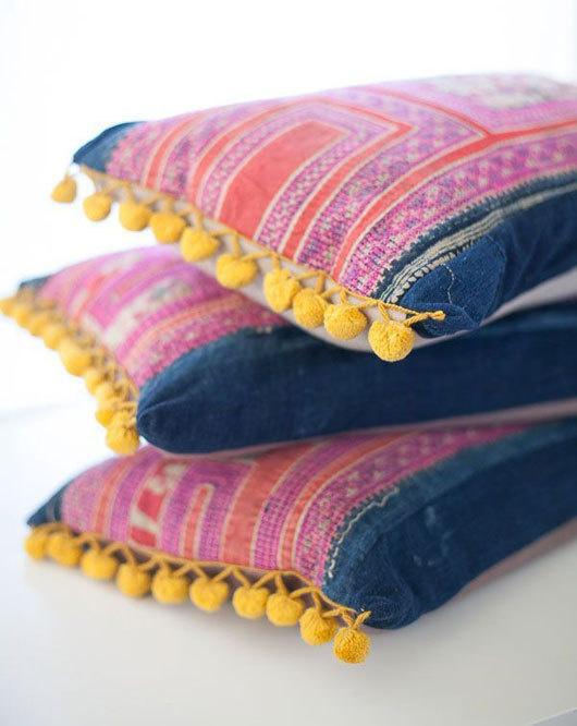 non perishable yellow pompom pillows #interior #design #decor #pillows #deco #decoration