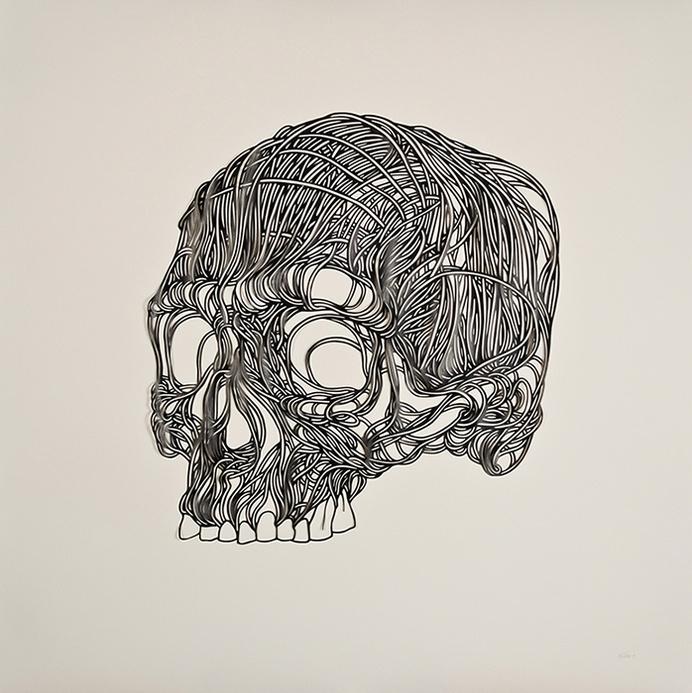 this isn't happiness™ (Stencils, Max Gaertner), Peteski #macabre #string #design #stencil #illustration #art #skull #death