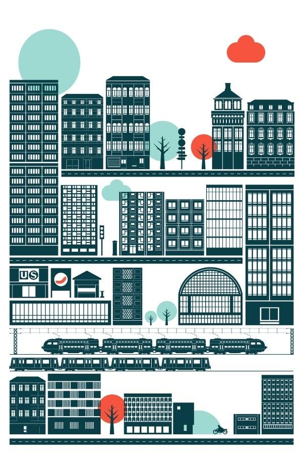 Illustration by Robert Samuel Hanson #city #illustration #vector