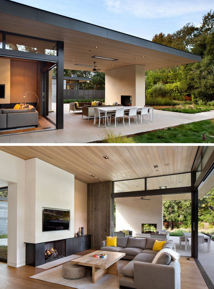 This modern house has been designed to enable indoor/outdoor living with the inclusion of sliding glass doors that open up the living room t
