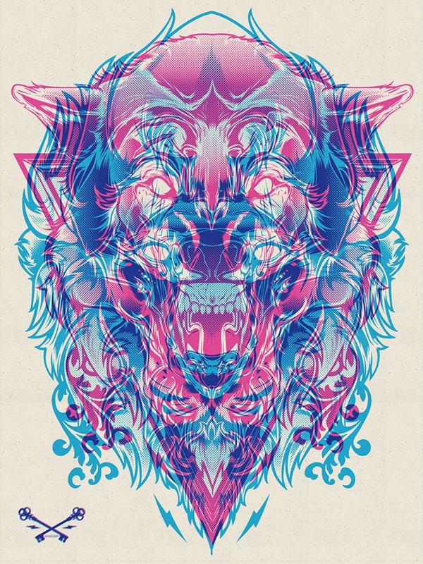 Halftone Print Series – Wolf & Lion