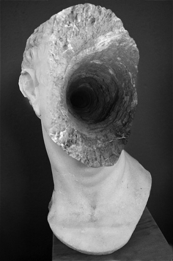 Jessica Harrison - Hole in Head, 2011 #montage #head #black #tunnel #bust #harrison #photography #jessica #collage