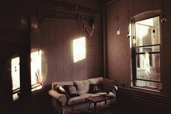 photo #interior #brick #sofa #couch #pillows #light