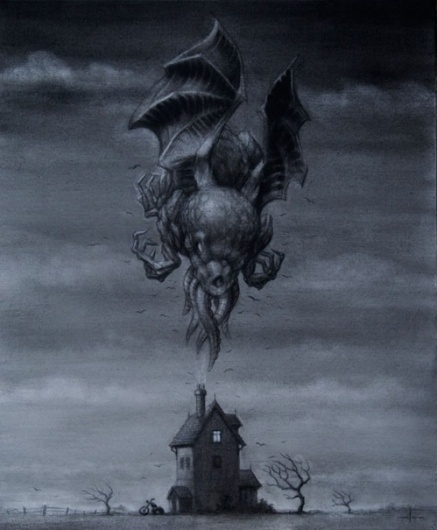 this isn't happiness™ (Country Life), Peteski #clouds #house #horror #floating #illustration #demon #storm