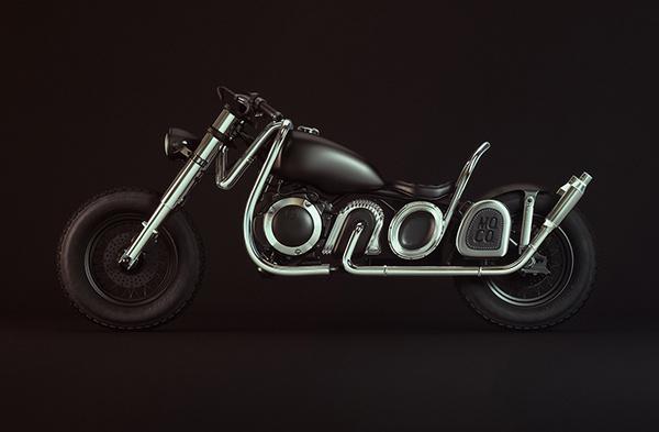 Monday Mo. Co. Type Bike on Behance #motorbike #lettering #3dart #3dtype #3dillustration #illustration #type #chopper #3d #typography