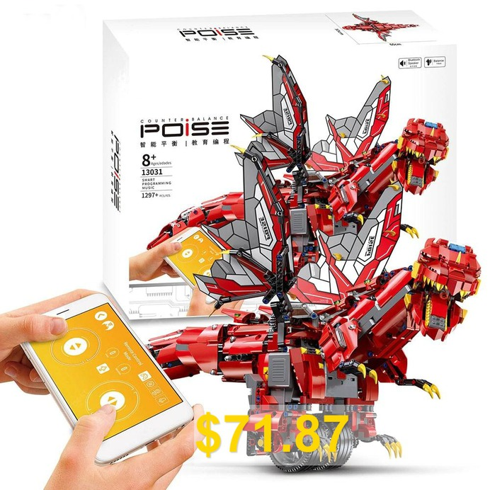 Mould #King #13031 #2.4G #/ #APP #Remote #Control #Smart #Programming #Multi-function #Robot #Building #Blocks #Dinosaur #Toy #Gift #- #RED
