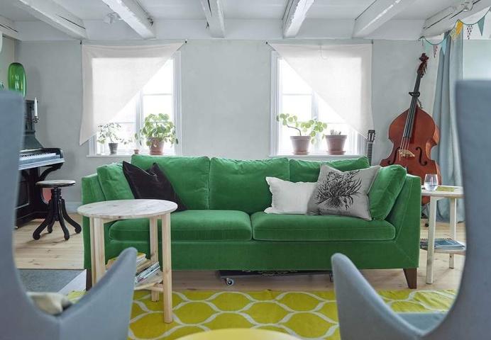IKEA STOCKHOLM green velvet sofa