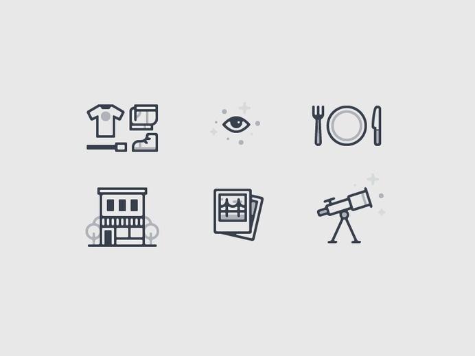 icons, rounded, clothing, house, food, telescope