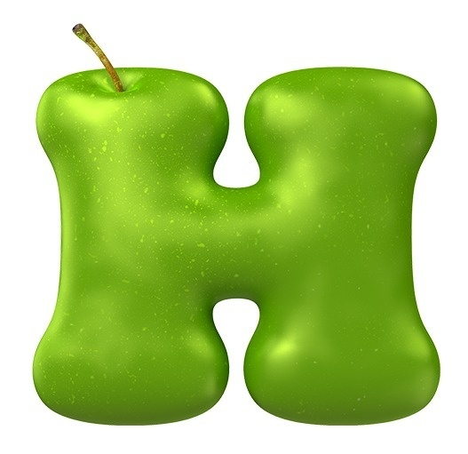 Apple Green Font Letter H Hand Made