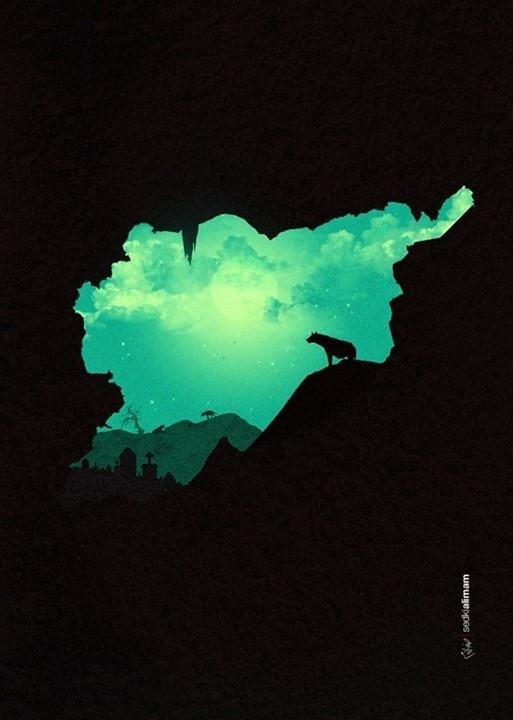 Kingdom of Hyenas #sky #cross #war #grave #night #poster #animals #moon