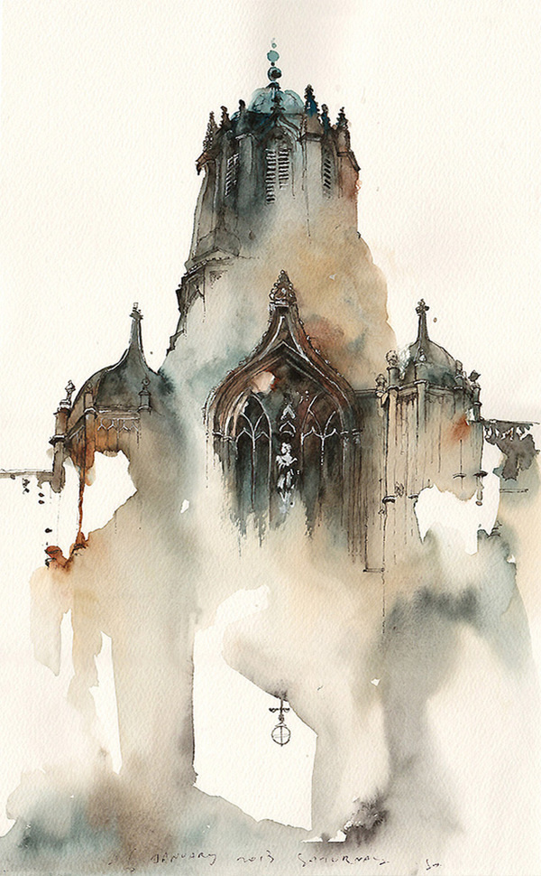 Dreamy Architectural Watercolors by Sunga Park #watercolor