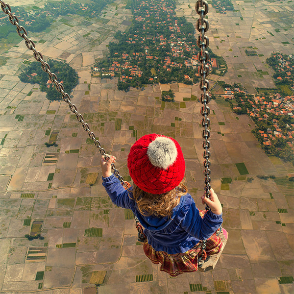 Surreal Photo Manipulations by Caras Ionut #aerial #photo #child #earth #photography #manipulation #swing
