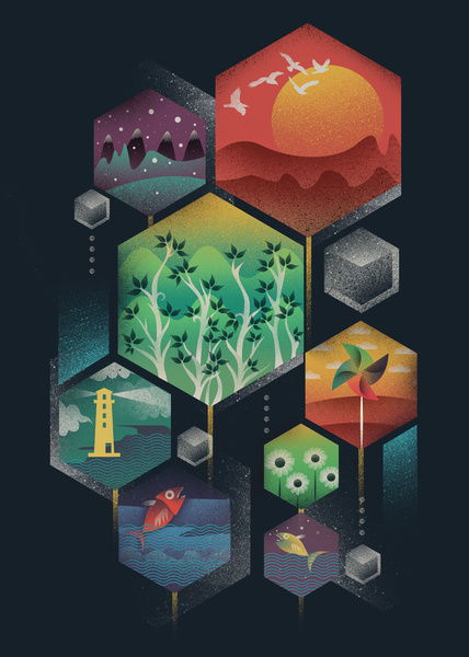 visualgraphic:Geometrical Wonders #illustration #color #geometry #texture