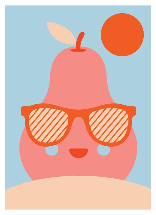 Enjoy Sunbath, by GH Yeoh #inspiration #creative #pear #design #graphic #illustration #colorful