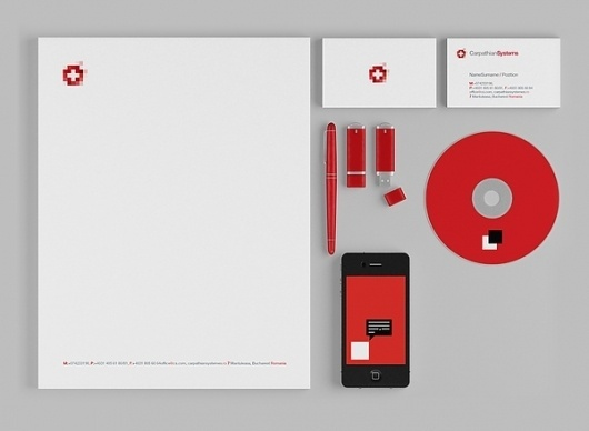 Carpathian Systemes on the Behance Network #vector #swiss #red #stationary #flag #graphic #logo #geometrical #pixels