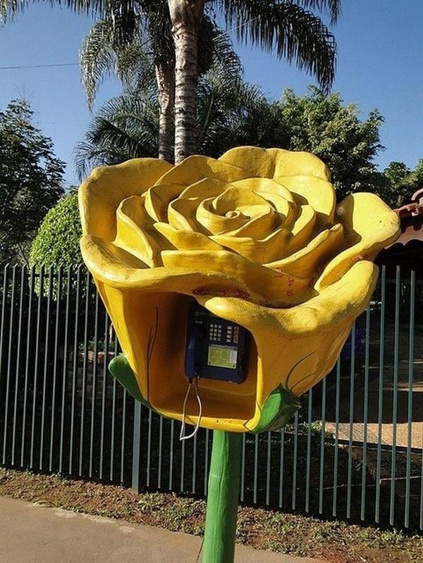 Flower art phone booth #phone #public #booth #art #street #exterior #telephone