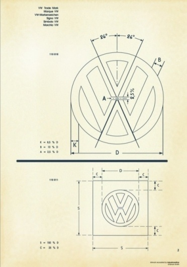 Recreated-Vintage VW Logo Specification Poster For Download | your creative logo designer #logo #guidelines