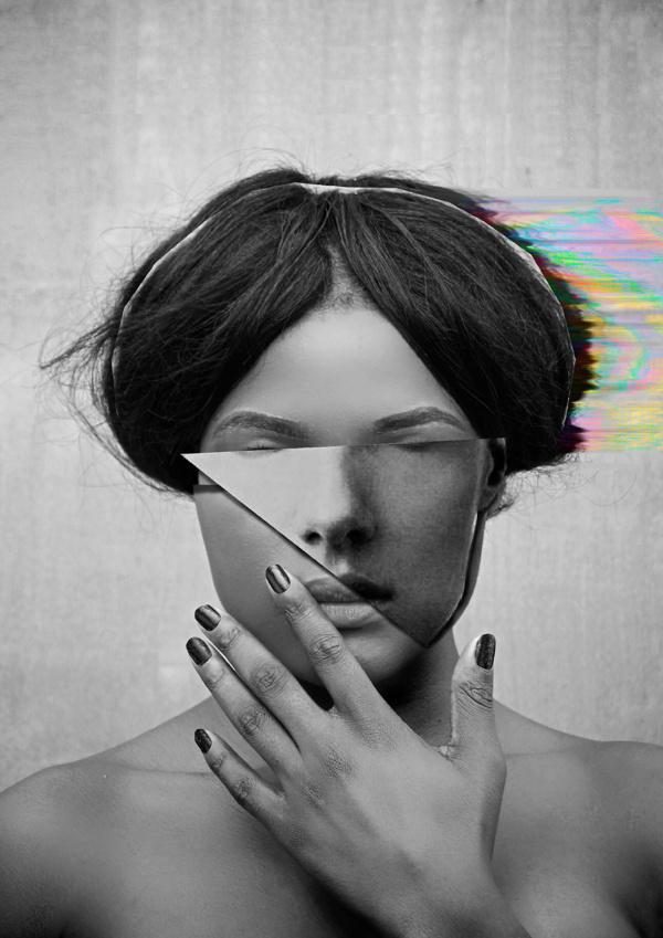 Digital Mirrors on Behance #c #color #digital #mirror #portrait #glitch #blackandwhite