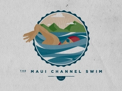 Dribbble - The Maui Channel Swim by Noa Emberson #clouds #joy #water #noa #shirt #stain #swim #logo #mountains #emberson