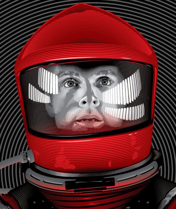 artwork by Tracie Ching | tracieching.com #kubrick #astronaut #helmet #sci #space #fi #illustration #odyssey #vintage #film #stanley