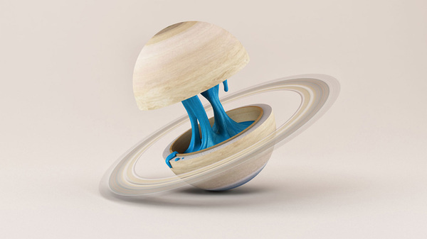 Novalis - Illustrations by Foreal #centre #saturn #core #space #illustration #liquid #planets