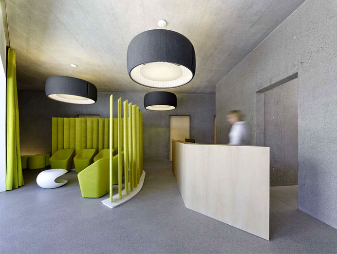 Exposed Concrete Walls at Residential and Dental Practice by Architekten Rüf Stasi Partner building combining residential dental practice 2 #interior #concrete #office #design #space #work