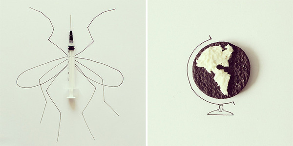 Everyday Objects Cleverly Incorporated Into Whimsical Illustrations DesignTAXI.com #cartoon #illustration #everyday #items