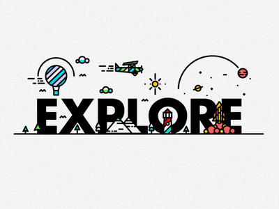 E-X-P-L-O-R-E #line #type #fish #texture #balloon #illustration #plane #rocket #logo #submarine #detail