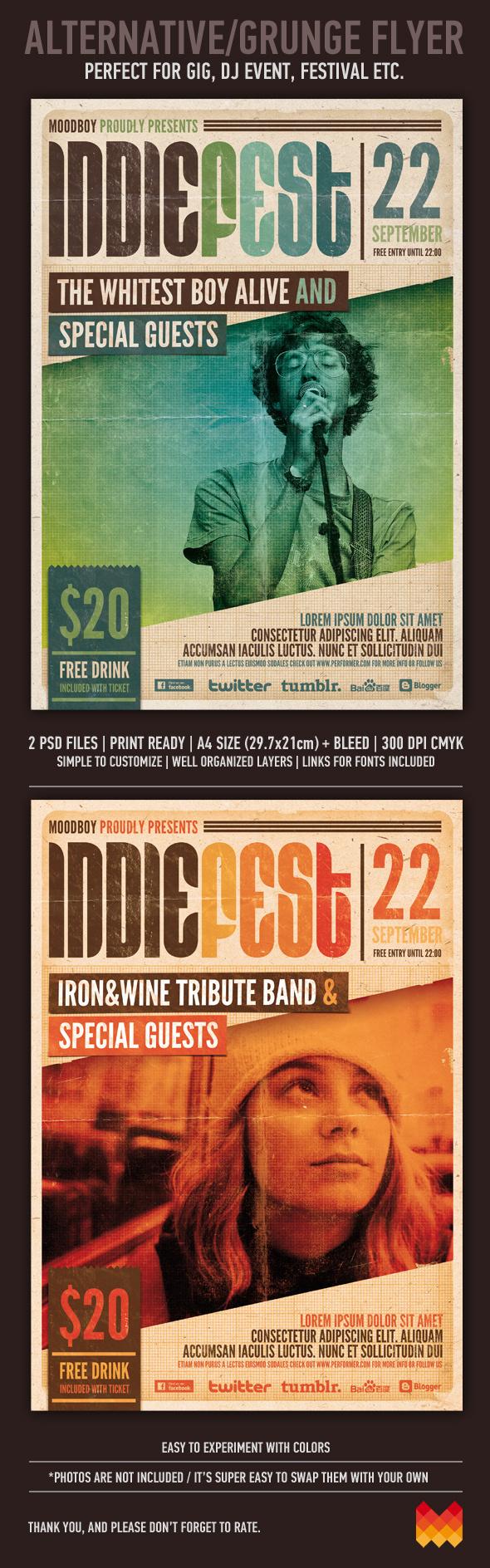 Indie Fest Poster PSD (Hi Res) on Behance #alternative #indie #concert #poster