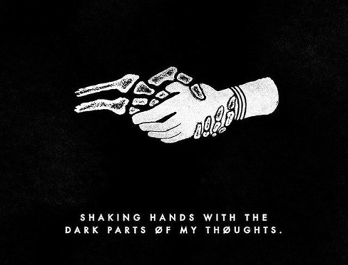 Shaking Hands with the dark parts of my thoughts. #illustration #quote #hands #minimal