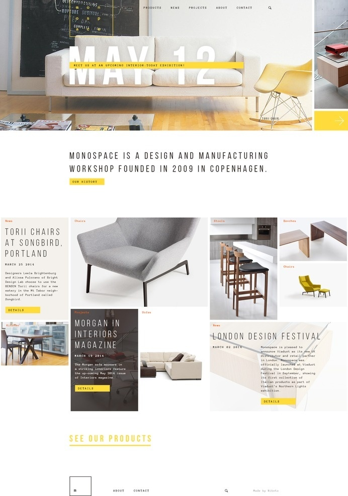 Monospace website concept #flat #white #responsive #niketo #yellow #ui #website #grid #furniture #saint-petersburg #moscow #layout