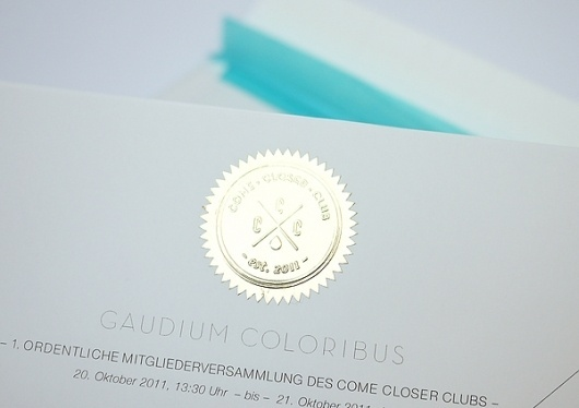 Come Closer Club – Invitation & Club Box on the Behance Network #logo #stamp #gold #emboss