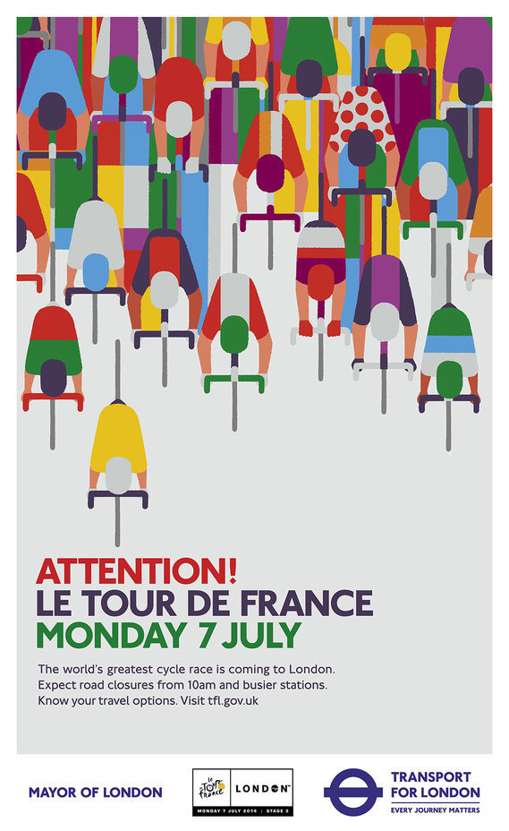 Creative Review - Ad of the Week: TfL, Attention! Le Tour De France #print #geometric #poster