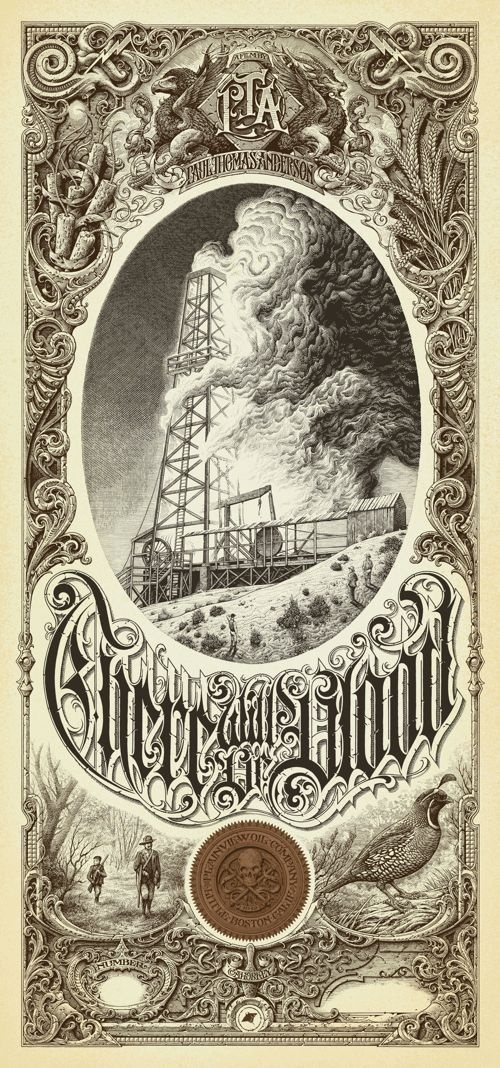 Aaron Horkey There Will Be Blood Regular Mondo Paul Thomas Anderson Poster Print | eBay #blood #movie #lettering #print #vintage #poster #film #type #detail
