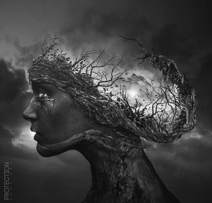 """""""Protection"""" by Pierre-Alain D. #white #woman #black #landscape #nature #portrait #branchs"""