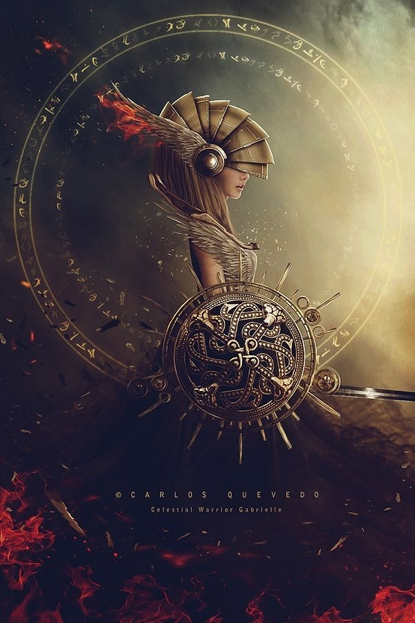 Celestial Warrior Gabrielle by Carlos Quevedo #inspiration #creatice #fantasy #digital #illustration #art