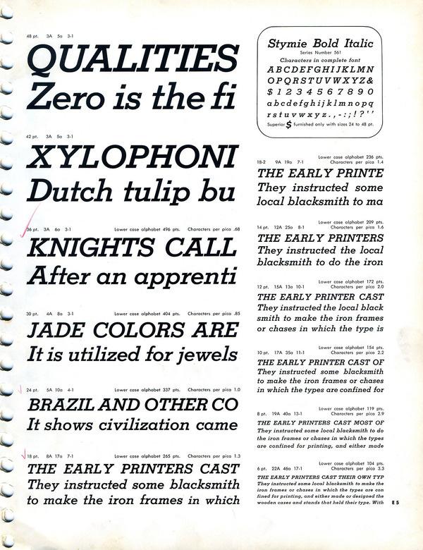 Stymie Bold Italic type specimen #slab #serif #specimen #type