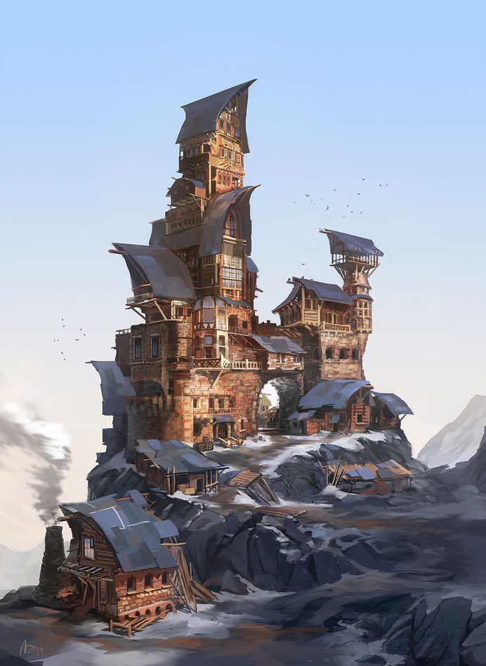 DrawCrowd #fantasy #mountain #town #snow #illustration #concept #building #architecture #art #tower