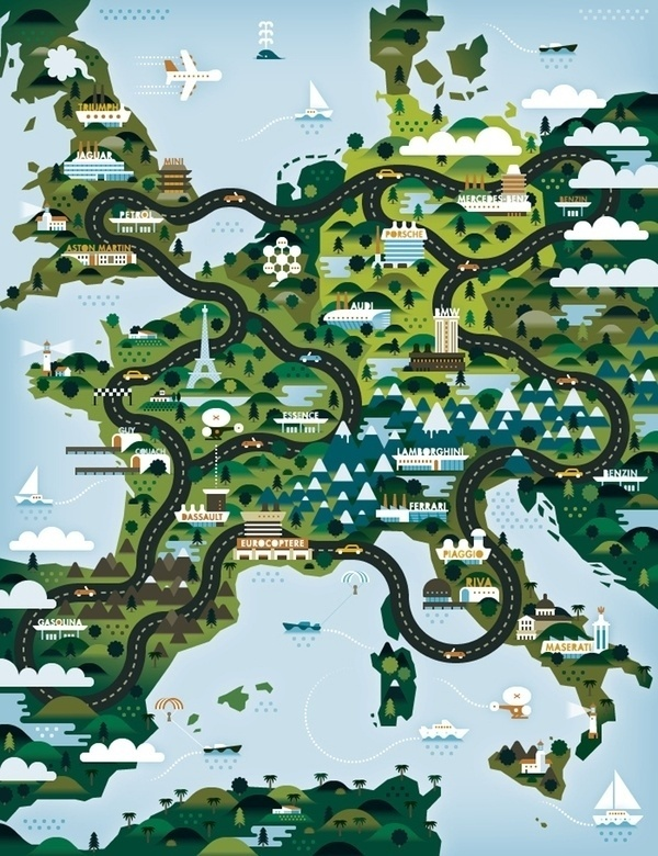 Maps #europe #magazine #map #illustration #ktron #khuan #good #life