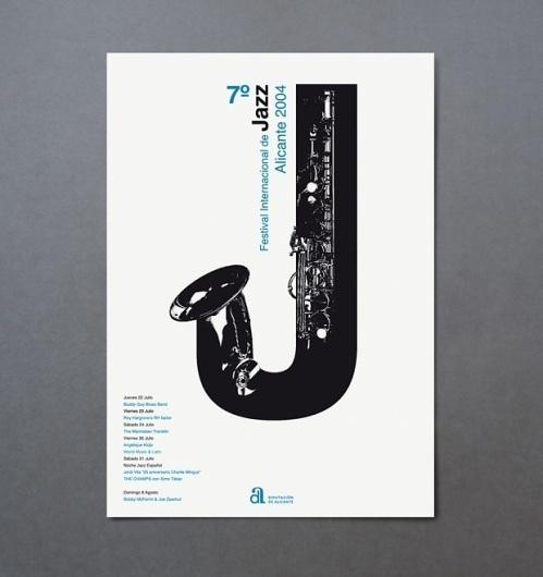 festival internacional de jazz de alicante | estudio ibán ramón | Proyectos de identidad corporativa, diseño editorial y comunicación gráfica #visual #spain #ramn #festival #jazz #internacional #valencia #de #poster #music #type #metaphor #alicante #iban #sax #typography