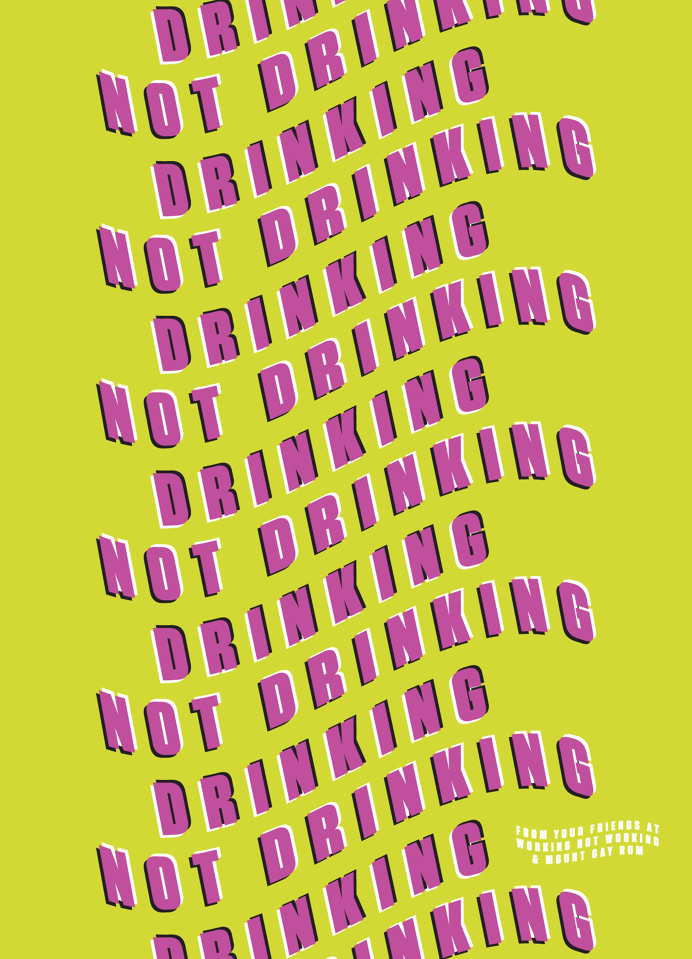 Drinking Not Drinking Poster #illusion #poster #color #type #trick #wavy #wave #playful #bright #fun