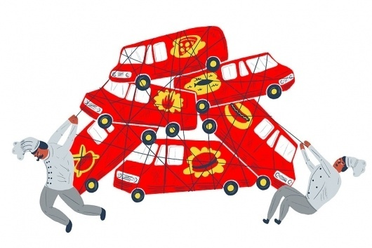 Miguel Arias Illustration #truck #red #chefs #yellow #food #trucks #illustration #chef #editorial