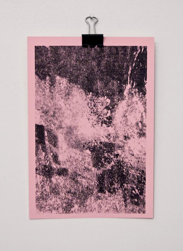   Underwater photo. Ink transfer. Meg Jannott. #water #pink #transfer #print #design #photography