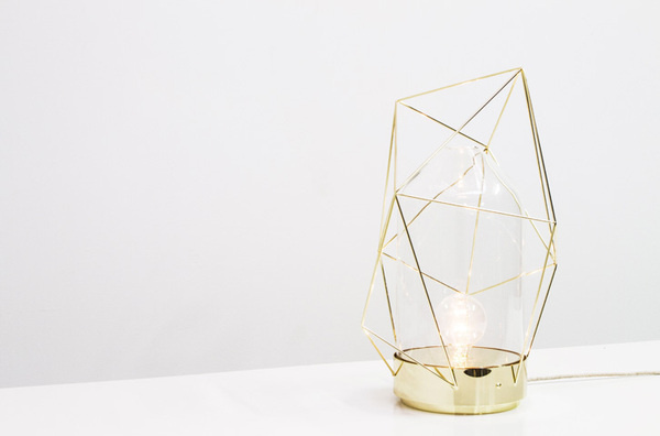 Reverie Lamp by Madrid-based designer Sergio Guijarro. @Kikekeller gallery, Madrid. #geometry #design #glass #product #brass #art #metal #light