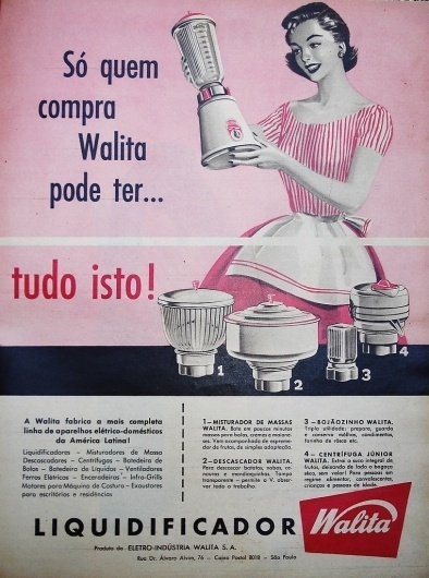 All sizes | 1958 advertisement - Walita blender and accessories | Flickr - Photo Sharing! #retro #brazilian #advertising #housewife #vintage #brazil