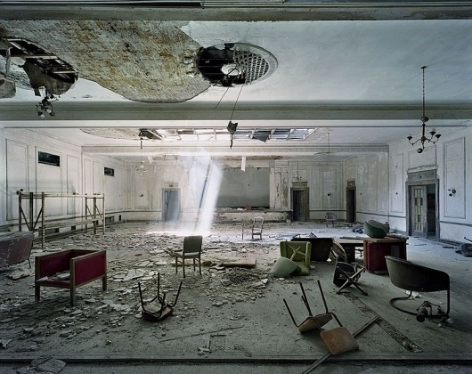 Yves Marchand & Romain Meffre Photography - The Ruins of Detroit #broken #sun #shaft #chairs