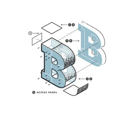 B - Deconstructed #lettering #design #graphic #type #deconstructed #typography