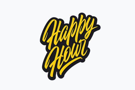 'Happy Hour' vector brush lettering
